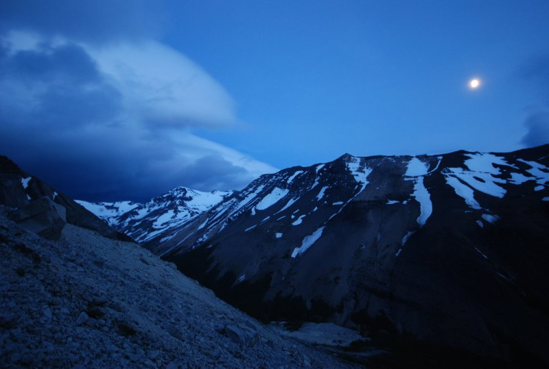 Climbing the final slope by moonlight