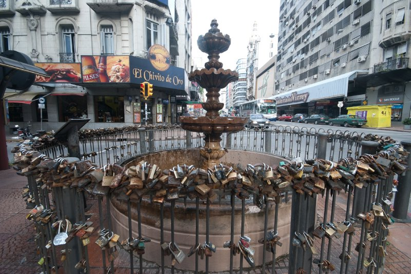 A fountain in Montevideo- Legend has it if couples leave a lock attached their love will remain strong forever
