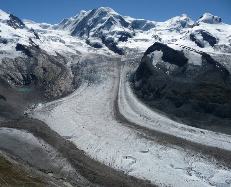 Gornergrat (23) - Mounts Liskamm 4527m Castor 4228m  Pollux 4092m and Grenzgletscher