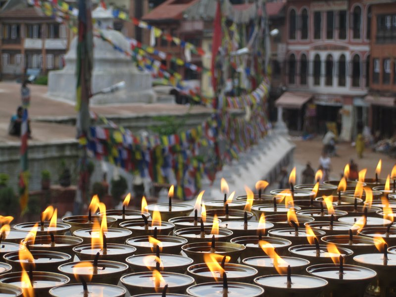 Candles and Prayer Flags