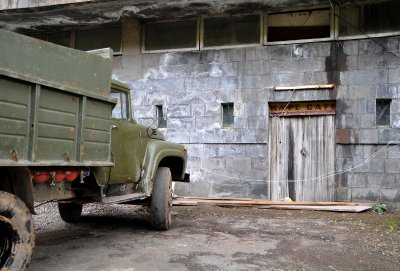 jermuk old soviet truck outside old soviet hotel