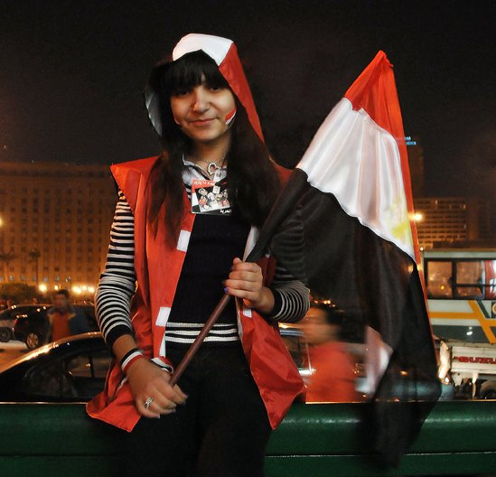 Girl with flag Tahrir