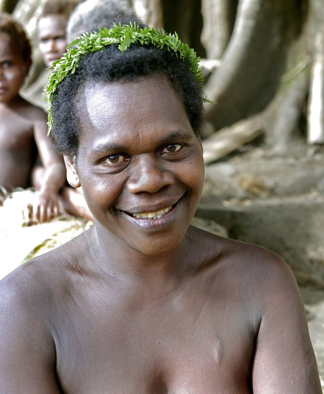Village woman before dancing