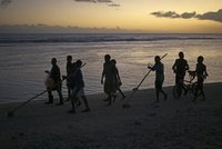 Fishing boys going home