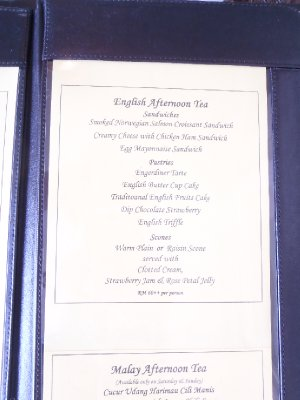 High Tea menu 2