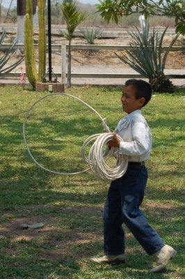 This little boy could rope a man's legs!!
