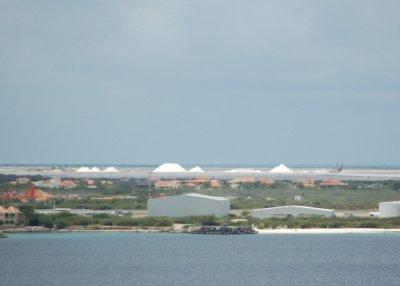 Salt fields in background