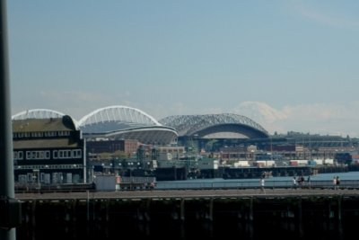 Qwest Field on left, Safeco Field on right and Mt Rainer in background.