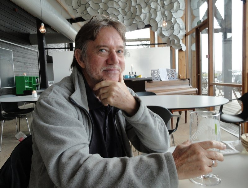 Chas contemplating what a great day we'd had .. in the comfort of the warm cafe of course!!
