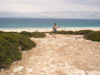 Tony viewing the coastline at the border of WA & SA