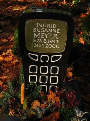 Mobile phone gravestone