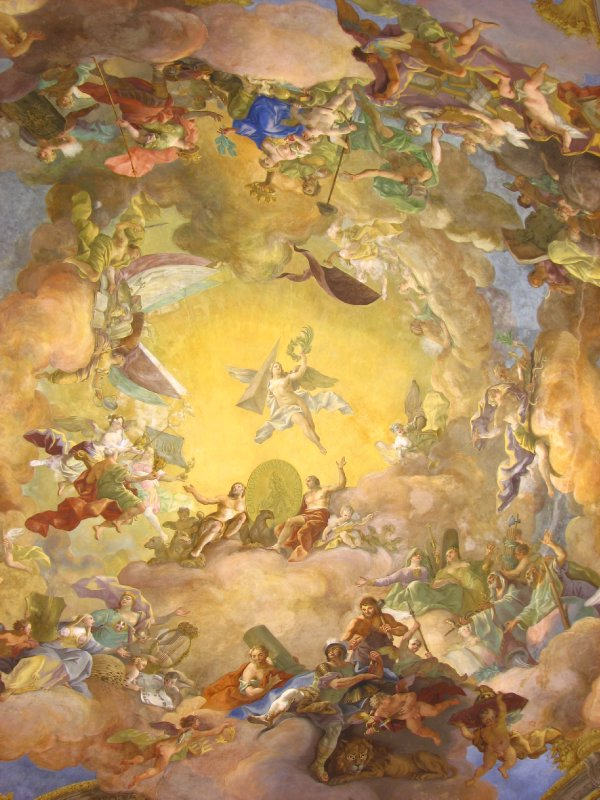 Apotheosis of Emperor Charles VI fresco on cupola ceiling