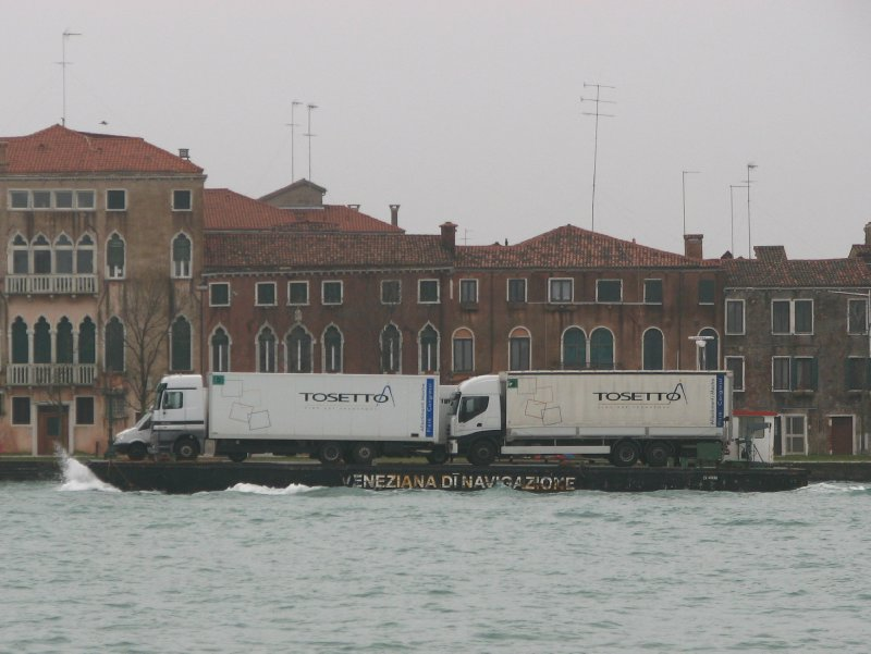 Lorries on a boat