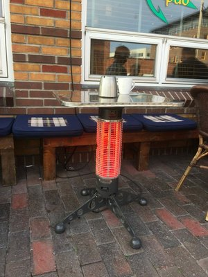 Heaters at the pub... built in to table legs!