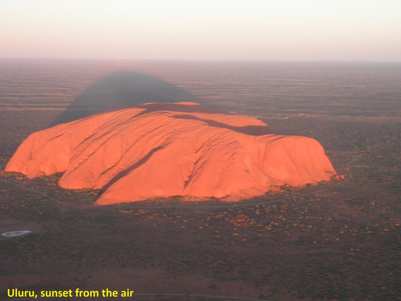 Uluru, sunset, from the air