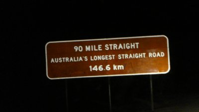 "It was night time when we hit the straightest road in Australia, though there wasn't much difference comparing to the 10 hours of ""not-so-straight"" road. We saw a car coming, and automatically turned our high beams down, but then we realized it was a straight road, the other driver could be really far away. Fair enough, we turned our high beam and our timer on, it was almost 6 minutes before the other vehicle was close enough for us to turn our beams down!"