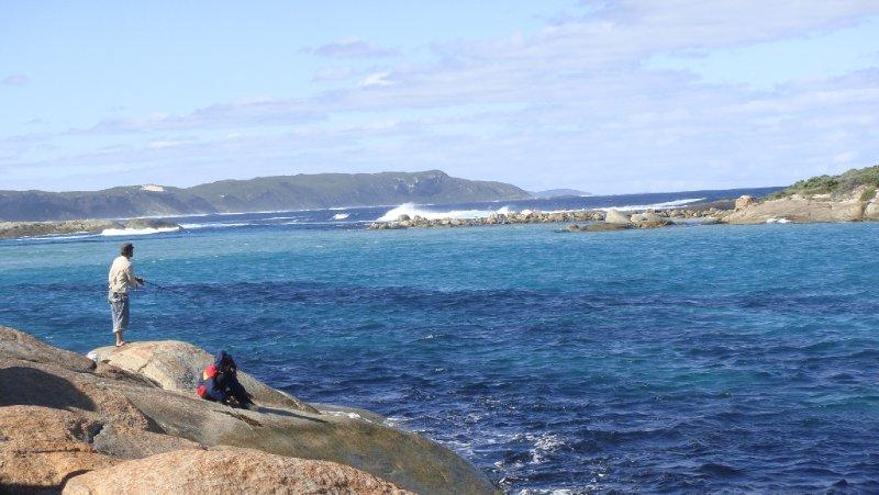 Fishing off the rocks at Mad fish Bay