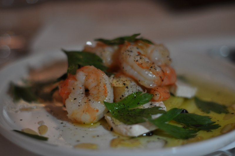 Salad of King Prawns with Marinated Leeks and Currants