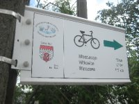A rare bike signpost to Warsaw. I didn't see another.