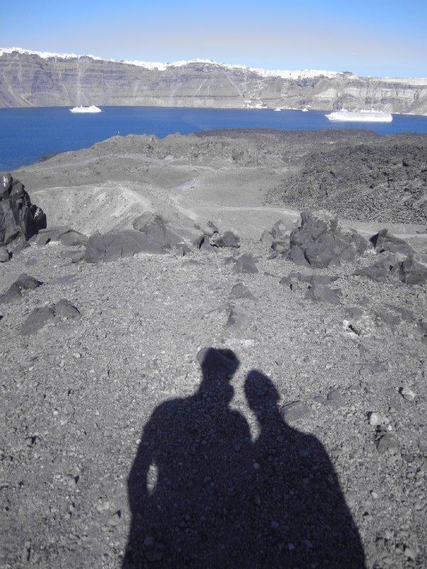 On Nea Kameni (Volcano Island) looking back at Fira