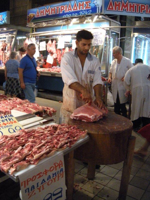A butcher at Central Market