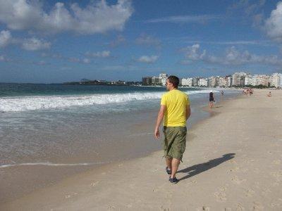 Simon enjoying morning stroll on Copacabana
