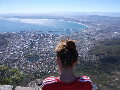 Mish looking out from Table Mountain