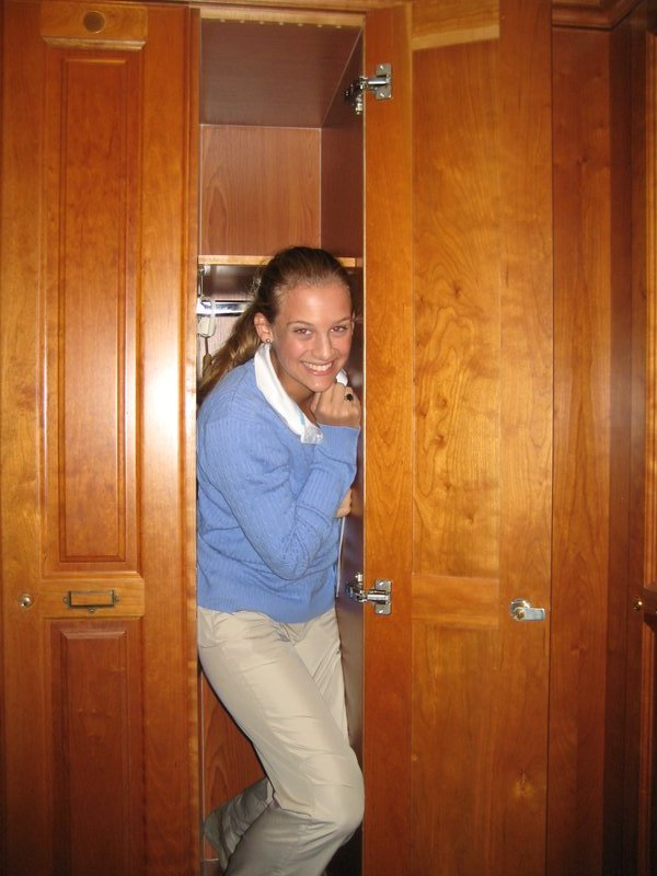 Carrie fits in the locker!