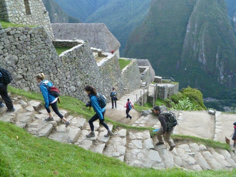 Walking up Machu Pichu