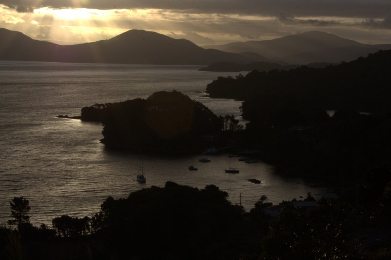 Sunset over Golden Bay and Watercress Bay from Observation Rock
