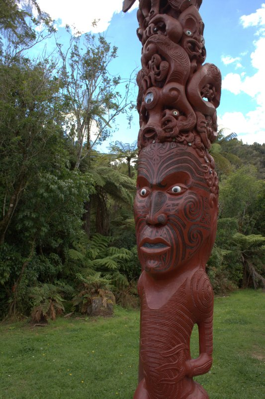 Maori Carvings at Tieke Kainga