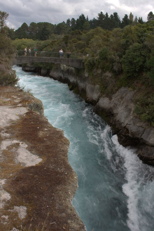 Water Rushing out of Lake Taupo before Huka Falls