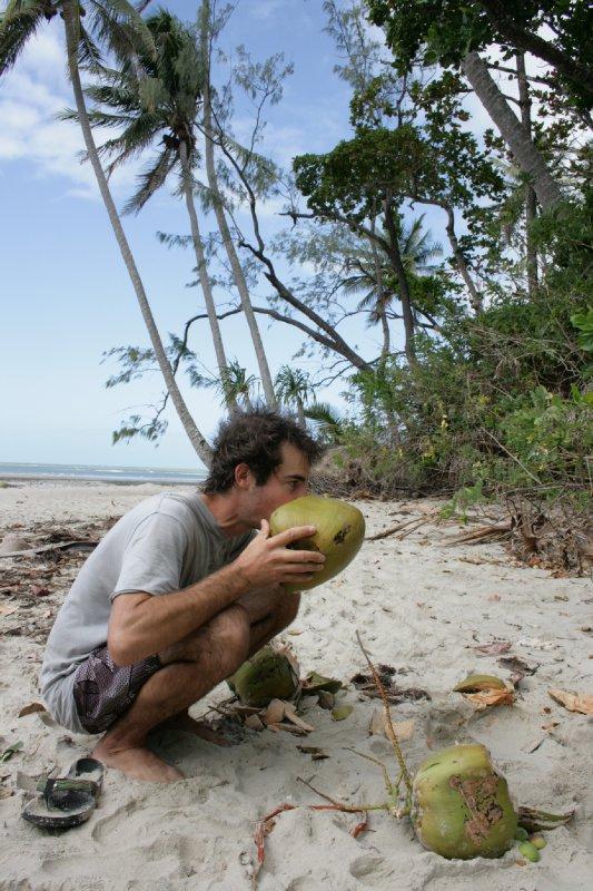 Drinking Coconut Water at Cedar Bay