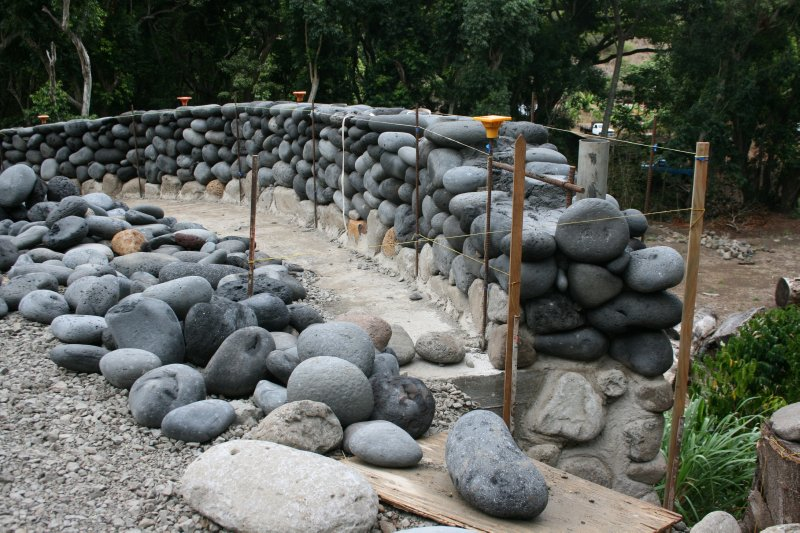 Volcanic Rock Wall Construction