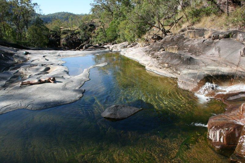 Julie Sunning at Crystal Creek in Paluma NP