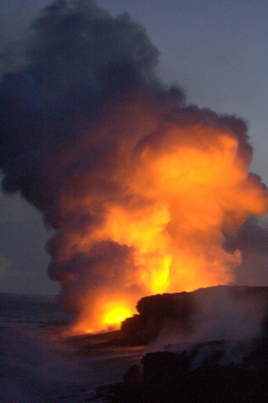 Evening Lava Flow from Kilauea Volcano