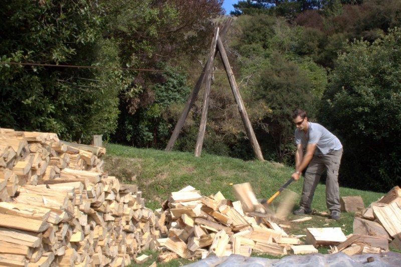 Splitting Wood at Glen's