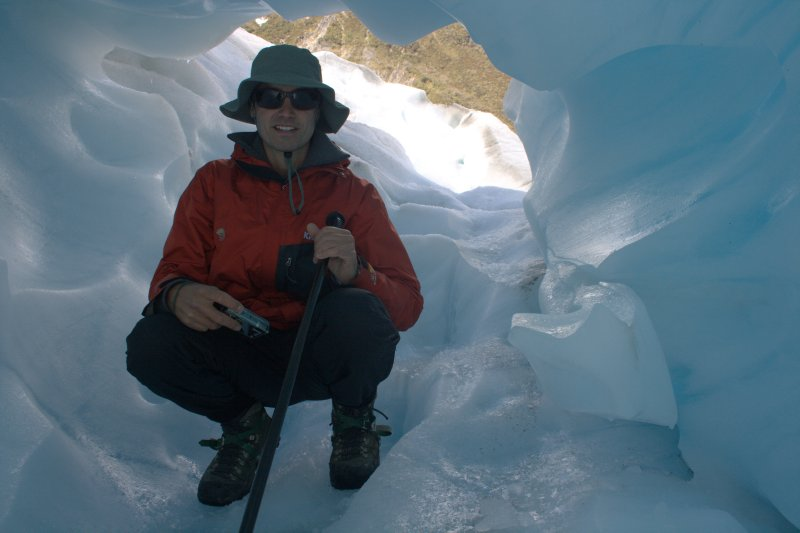 Inside Blue Ice Arch on Fox Glacier