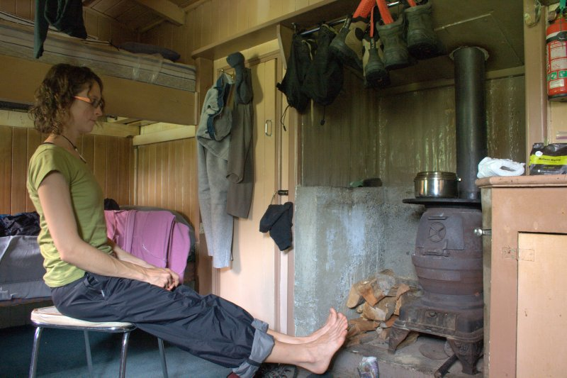 Julie Drying Out in Pop's Hut - Hollyford Camp