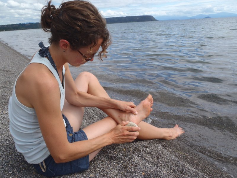 Julie and her Pumice Stone at Lake Taupo
