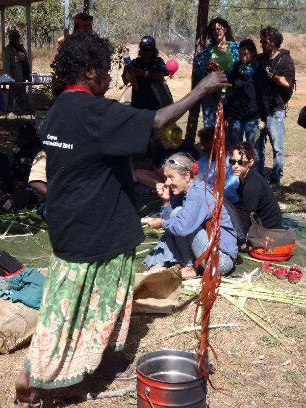Aboriginal Lady Dying Pandanus Leafs