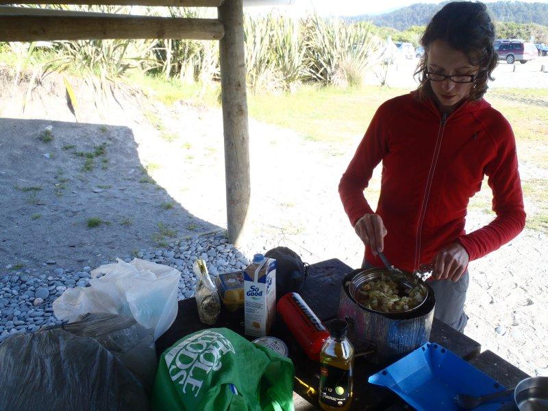 Julie Cooking at Gillespies Beach