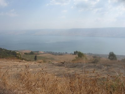 In front of the house at the Galilee