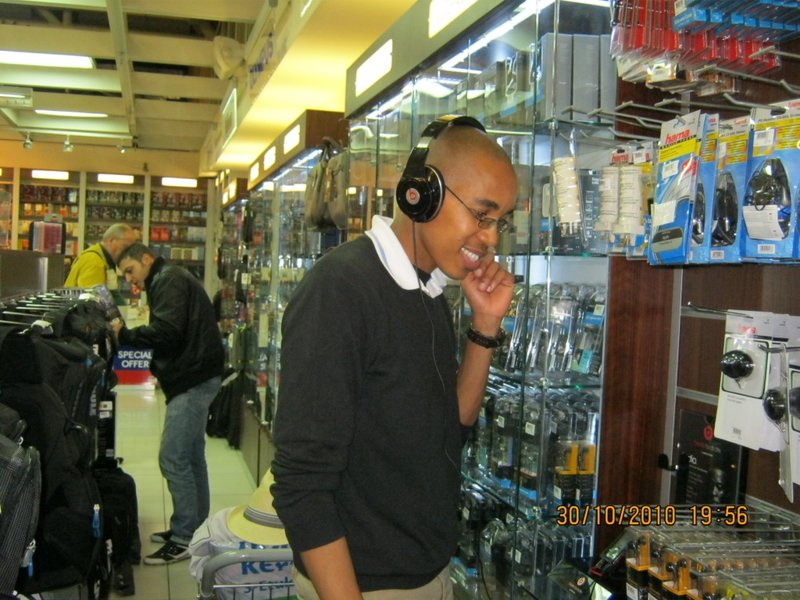 Listening to B headphones by Dr Dre