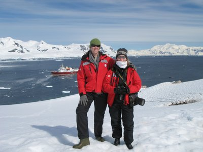 Barb and I arrive to the Antarctic continent!