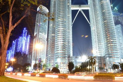 Kuala Lumpur city lit up around the Petronas Towers