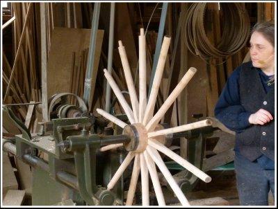 Wheel being assembled