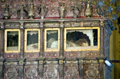 St Francis of Xavier in his glass-fronted coffin