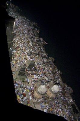 Pilgrims on the Narmada River from Ahiliya Fort walls.