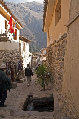 Ollyantaytambo Village still serviced by Incan acqueducts running through the streets